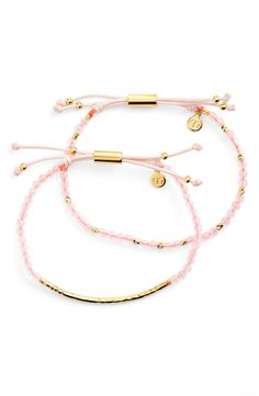 Obsessing over these slender bracelets strung with gorgeous pink semiprecious-stone beads and featuring a glistening hammered-metal bar. This Nordstrom Anniversary Sale find will make the perfect gift for a friend or loved one.