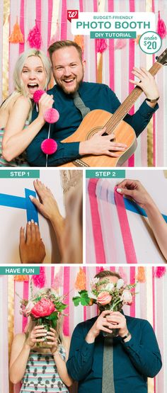 Make this easy (and affordable!) photo booth for your wedding. Using just streamers and a strip of painter's tape, it's a simple project guests will enjoy all night long. Check out our Smile blog for the full tutorial!