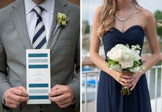 Bridesmaid and groomsman in blue attire holding up invitation and bouquet.