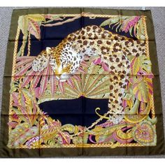 Salvatore Ferragamo, Giraffe, Leopard, Parrot, Butterflies Silk Scarf New with Box