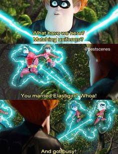 """You married Elastigirl? And got busy! Disney Pixar, Disney Jokes, Funny Disney Memes, Disney And Dreamworks, Disney Magic, Funny Memes, Hilarious, Funny Shit, Dankest Memes"
