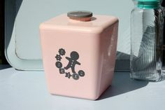 Vintage Pink Cookie Jar Kitchen Canister by TwoNoels on Etsy, $20.00