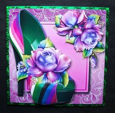 Fabulous Stripe Shoe Vibrant Roses Lacey Square on Craftsuprint - View Now! Black Lace Shoes, Striped Shoes, Hot Pink Lipsticks, Christmas Shoes, Pansies, I Card, Pink Roses, Beautiful Flowers, Card Making