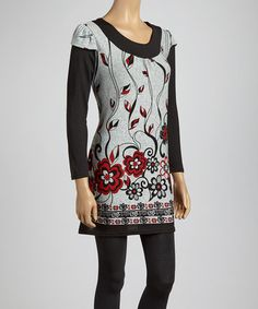 Take a look at this Black & Gray Floral Scoop Neck Tunic by Lady's World on #zulily today!