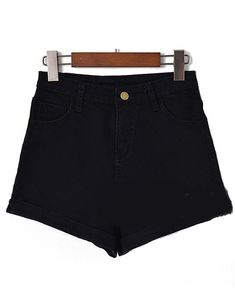 High Waist Cuffed Denim Black Shorts