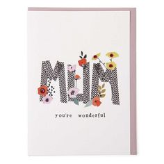 Mum you're wonderful patchwork Mother's day card