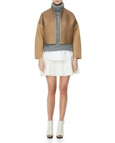 Felted Wool Jacket, Sleeveless High-Low Turtleneck Sweater, Sleeveless Poplin Blouse & Felted Wool Skirt  $475 by 3.1 Phillip Lim at Bergdorf Goodman.