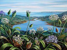 Summer Delight by Irina Velman Abstract Landscape Painting, Seascape Paintings, Nature Paintings, Landscape Paintings, Canvas Paintings, Auckland, Wonder Art, New Zealand Landscape, New Zealand Art