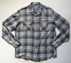 J.CREW MADRAS MENS L large PLAID BUTTON DOWN SHIRT #JCREW #ButtonFront