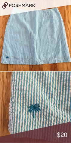 """Lilly Pulitzer Seersucker Skirt Lilly Pulitzer blue and white seersucker mini. cotton and spandex blend. Lined. Back zip. Excellent condition.  Size 6 16"""" across at waist 19"""" long Lilly Pulitzer Skirts"""