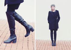 black on black | Zara coat | Steve Madden thigh-high boots | style | fashion | we the birds