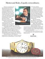 Rolex Day-Date Watch, Charlton Heston 1981 Ad Picture