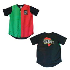 Originals Motherland Pinstripe Baseball Jersey Exclusive Sold Out By Kiy Base Ball Jersey with Zipper Red and Black Martin Style! By Kiy Tops Tees - Short Sleeve Baseball Jerseys, Dom, Red Green, The Originals, Tees, Things To Sell, Black, Africa, Style