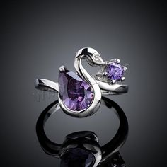 Awesome #Finger #Ring, Swan,  & with #cubic #zirconia.