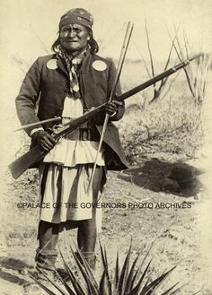 Geronimo, Chiricahua Apache.  Photographer Camillus S. Fly was known for his exclusive documention of the 1886 campaign against Geronimo, for his recording of many of the badmen of the decades of the 1880s and 1890s, and for his presence at the gunfight involving the Earps, the Clantons, and Doc Holliday at the OK Corral in Tombstone. Late in his career he also served as sheriff of Cochise County, Arizona.  Negative #002115