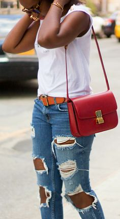 Red Celine box bag and ripped jeans, a match made in heaven!