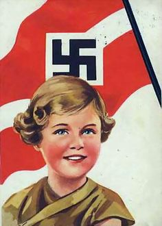 Nazi propaganda, swastika flag flying above a young child.