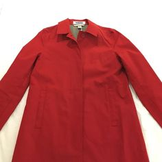 *LIKE NEW* Old Navy trenchcoat Red cotton trenchcoat from Old Navy. Front flap pockets, grommets under arms. Only worn once or twice, like new! Old Navy Jackets & Coats Trench Coats