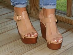 Neutral Leather Wedge