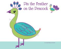 LynnetteArt: Pin the Feather on the Peacock birthday party game files