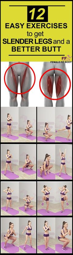 12 Easy Exercises to Get Slender Legs and a Better Butt. Inner thigh, inner leg abs but workout, booty, leg Fitness Workouts, Sport Fitness, Body Fitness, Easy Workouts, Fitness Diet, At Home Workouts, Fitness Motivation, Health Fitness, Butt Workouts