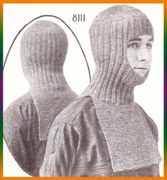 Helmet Knitted in One Piece Ski Hood Knit Knitting Pattern by [Charlie Cat Patterns] Knitting Designs, Knitting Patterns, Dystopian Fashion, Knit Crochet, Crochet Hats, Ski Fashion, Head Accessories, How To Make Clothes, Cat Pattern