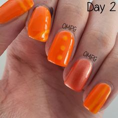 For day 2 of the #ompg31dc, here are my orange-themed nails! These were done around the time my nail shape was square (yes, we start doing this months ago).. The orange and yellow I had at that time were weird, and the top coat turned the orange neon, and the yellow into some weird orange-ish shade.. So yeah, this definitely is not one of my favourites.. heh..