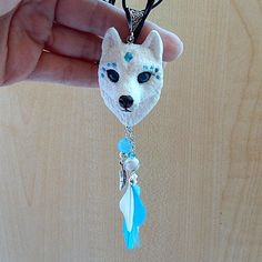 Spirit wolf white wolf pendant wolf totem wolf amulet White