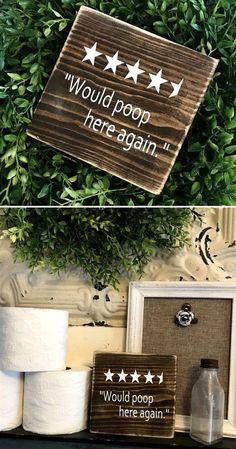 Hahaha 4.5 stars for the bathroom! Would poop here again, wood sign, funny bathroom decor, funny housewarming gift idea, farmhouse decor, rustic decor, primitive sign, home decor #ad #HomeDecor