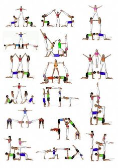 There are a lot of yoga poses and you might wonder if some are still exercised and applied. Yoga poses function and perform differently. Each pose is designed to develop one's flexibility and strength. Gymnastics Stunts, Acrobatic Gymnastics, Cheer Stunts, Cheerleading, Partner Yoga, Power Yoga Workout, Iyengar Yoga, Acro Yoga Poses, Group Yoga Poses