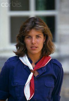Princess Caroline with Monaco Girl Scouts. 1983