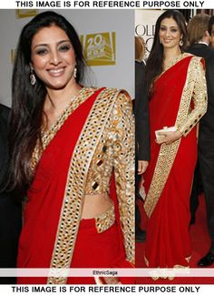 Gorgeous Tabu Red Georgette Mirror Work Saree
