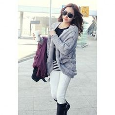 Casual Loose Fitting Dolman Sleeve Cardigan for Women