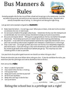 Bus Manners and Rules School Bus Driving, School Bus Safety, School Buses, I School, School Community, Party Bus, Bus Driver, Teacher Newsletter, Manners