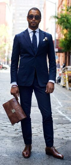 Men's Blue Three Piece Suit, White Dress Shirt, Brown Leather ...