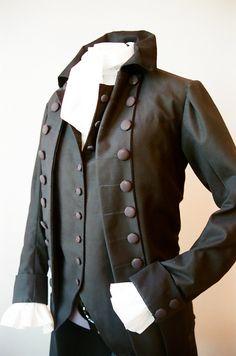 Men's 18th Century Coat, under vest and white blouse ensemble. $215.00, via Etsy.