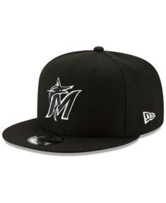 e4f73e3bee6fb New Era Miami Marlins Black White 9FIFTY Snapback Cap - Black Adjustable