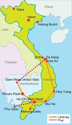Vietnam Rundreise Vorschläge für 1-3 Wochen mit Übersichtskarten auf denen die Stationen verzeichnet sind für die eigene Urlaubsplanung!