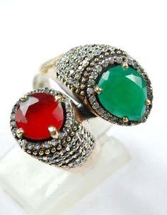 Brilliant Design Emerald/Ruby Gemstone Ring Solid by ernestosaks