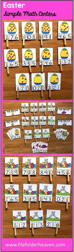 """These Simple Math Centers for Easter include 4 Easter themed sets of """"Count and Clip"""" Task Cards, and 4 """"Clip and Flip"""" Books that focus the concepts of """"one more,"""" and """"one less.""""  Clip and Flip Task Card Sets Included:  Count the Bunny's Eggs (Numbers 0-10) Count the Eggs in the Basket (Numbers 0-10) Count the Dots on the Easter Egg (Numbers 0-10) Count the Flowers in the Bonnet (Numbers 0-10)"""