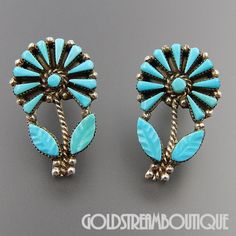 NATIVE AMERICAN J. LAATE ZUNI 925 SILVER CARVED PETIT POINT TURQUOISE BLOOMING FLOWERS EARRINGS