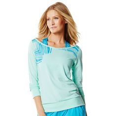 Every Bodys Headliner Top - The Fog Prince. 62% Polyester, 33% Cotton, 5% Spandex. Flattering boat neck silhouette. Silver foil detail on sleeve. 3/4 arm sleeves.