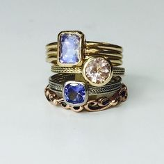 Metalicious stack rings, gorgeous purple and pink gemstone hues.