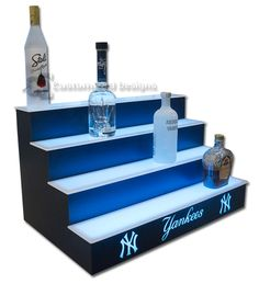new york yankees led lighted bottle display - New York Yankees Bedroom Decor