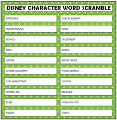 Free printable Disney Character Word Scramble How many answers can you guess correctly on this Disney Word Scramble? These are all Disney characters, both new and classics.