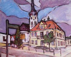 Aus der Reihe Nachbargemeinden. Teil 1: Neulussheim / Acryl auf Leinwand, Abm. 60 x 50 cm Canvas, Painting