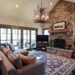 stone fireplace with rustic wood mantle