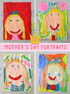 Mother's Day portraits make wonderful kid-made gifts, especially with the added touch of the crown since Mom is Queen of the house. These Mother's Day paintings were made by preschoolers and kindergarten kids, but the idea could be used with older kids as well. #kidsart #mothersday #handmadegift #mothersdaygift #preschoolers #kidspainting #kidscrafts