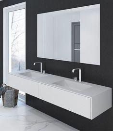 Doppelwaschtisch aus DuPont Corian® in Glacier Wh… Wash Basin, Interior, New Bathroom Designs, Home, Lighted Bathroom Mirror, Vintage Bathroom, Bathroom Mirror, Bathroom Design, Bathroom Decor