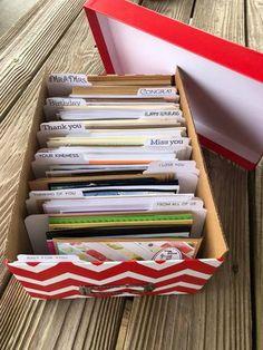 Greeting Card Box Storage – Maymay Made It Diy Storage Boxes, Craft Room Storage, Paper Storage, Craft Organization, Organizing Life, Storage Baskets, Storage Ideas, Greeting Card Holder, Greeting Card Organizer
